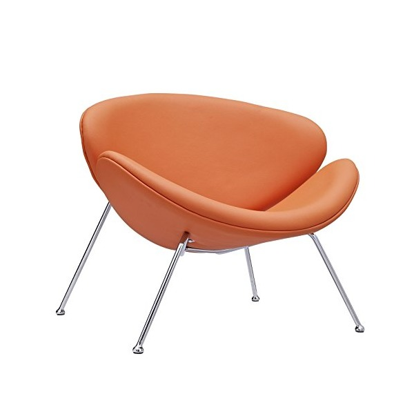 LexMod Nutshell Mid-Century Style Lounge Chair in Orange VinylOrange