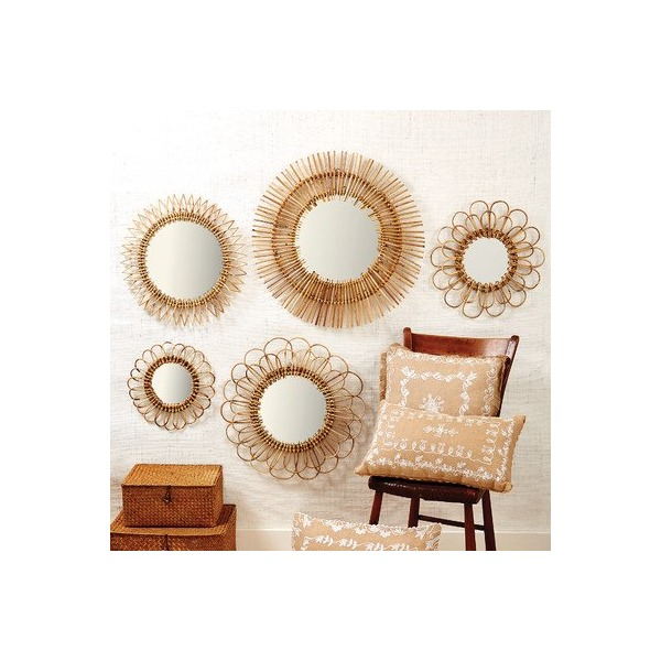 5 Piece Natural Rattan Wall Mirror Set