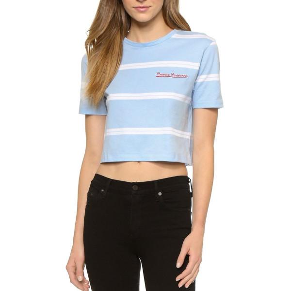 Etre Cecile Stripe Cerulean Crop T-Shirt, Cerulean/White