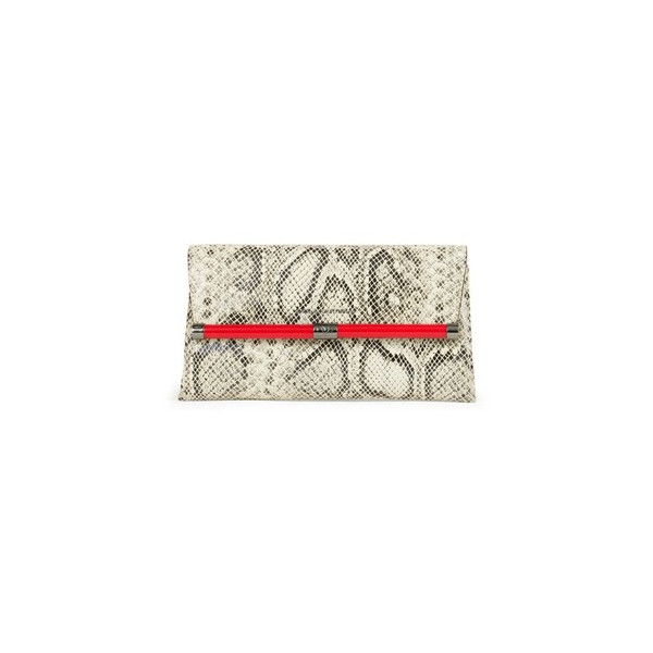 DVF Diane Von Furstenberg Envelope Python Embossed Leather Clutch