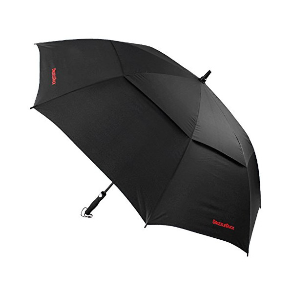 "DrizzleDuck 60"" Automatic Open Windproof Vented Golf-Sized Umbrella with Carry Strap"