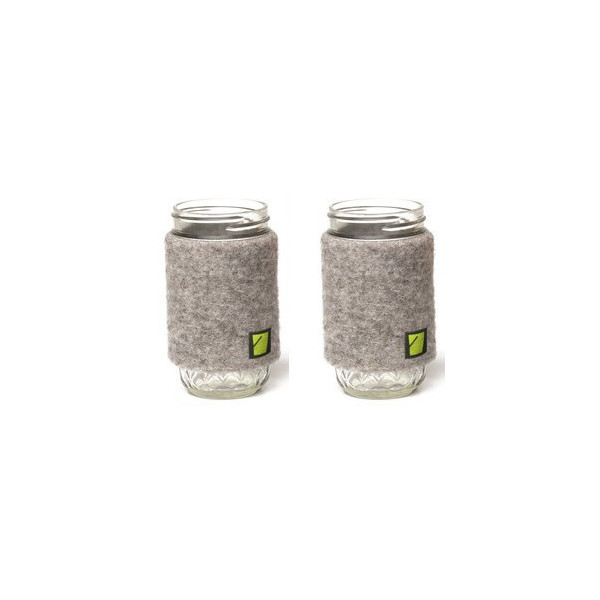 2 Oregon Organic Wool Koozies with 2 12 Ounce Mason Jars