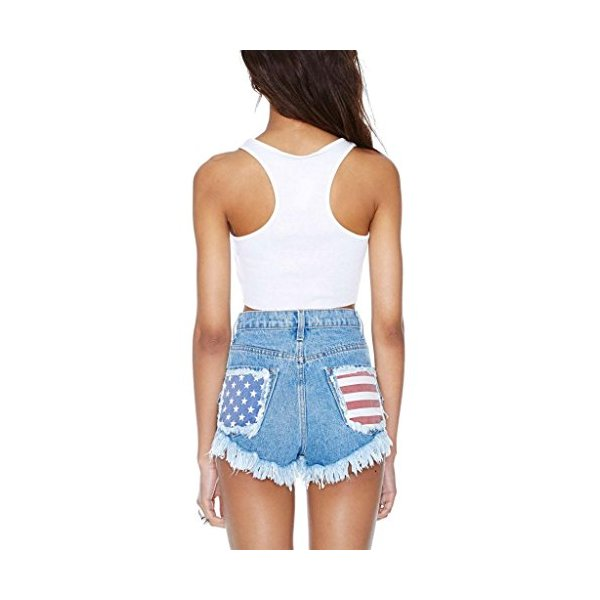 USA Vintage Shredded American Flag Levi Cut Off Ripped Frayed Shorts-XXXL