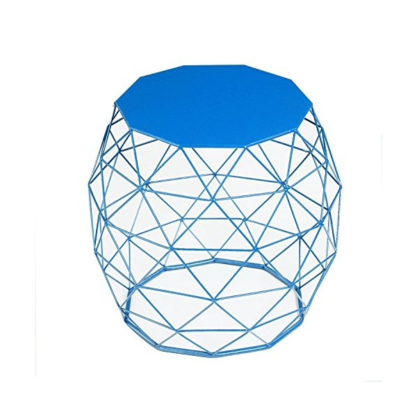 Garden Accents Wire Round Iron Metal Stool Side Table Plant Stand, Hatched Diamond Pattern, Blue