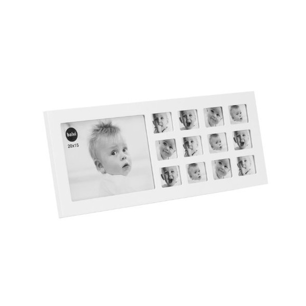 Balvi Baby My First Year Wooden Photo Frame Multi Picture Display for 12 Months