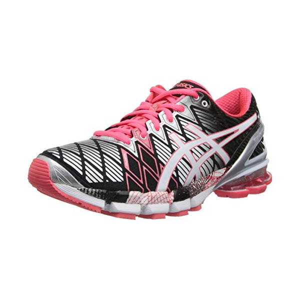 ASICS Women's Gel-Kinsei 5 Running Shoe,Black/Snow/Diva Pink,5 M US