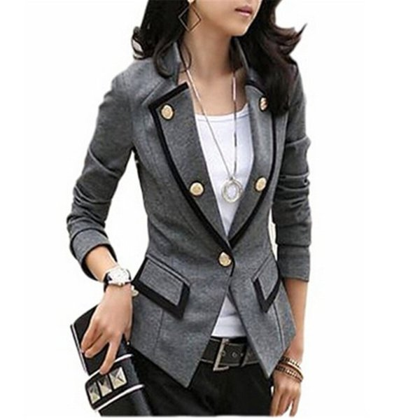 Women Fashion Double-breasted Long Sleeve Blazer Short Suit