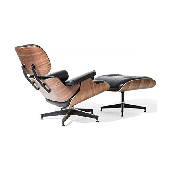 2xhome - Black - 100% Genuine Real Italian Leather Modern Classic Plywood Eames Lounge Chair Walnut and Ottoman Eames Chair High Grade Walnut Replica for living room