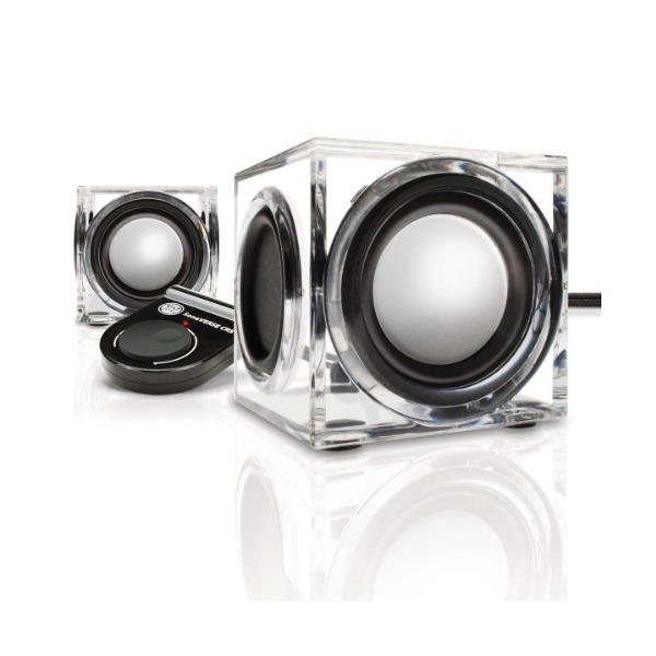 GOgroove CRS Compact USB Powered Computer Speakers with Modern Acrylic Housing & Dual Drivers - Works with Acer Chromebook 11 , HP Stream 11 , Toshiba Satellite & More Laptops