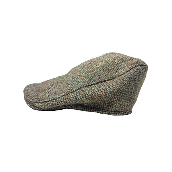 Irish Flat Cap Harris Tweed Tan Donegal Fleck Extra Large