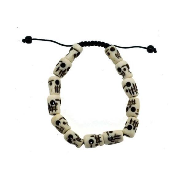 Tibetan Meditation Yak Bone Wrist Mala, Skull Wrist Mala, Prayer Skull Beads