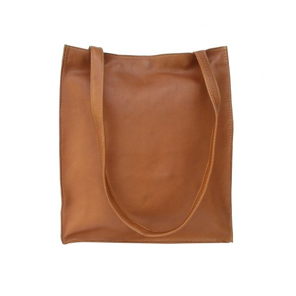 Piel Leather Open Market Bag, Saddle, One Size