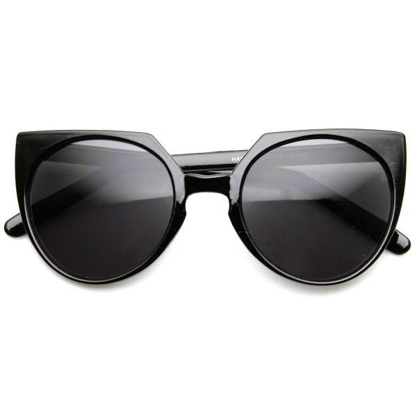 High Fashion Mod Keyhole Bridge Round Cat Eye Sunglasses (Black Smoke)
