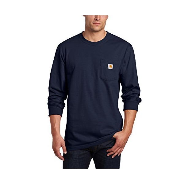 Carhartt Men's Workwear Long Sleeve Pocket T-Shirt K126,  Navy,  X-Large Tall