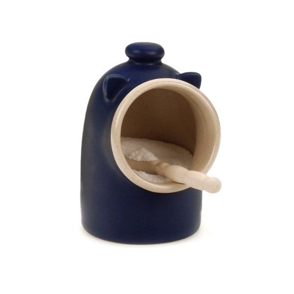 Blue stoneware Salt Pig Including Spoon Salt Keeper Jar