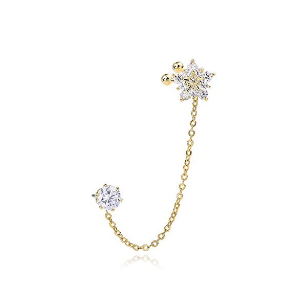 OKAJEWELRY Cubic Zircon Crystal Star Flower Ear Cuff Chain Clip Left Cartilage Ear Wrap Earrings Gold