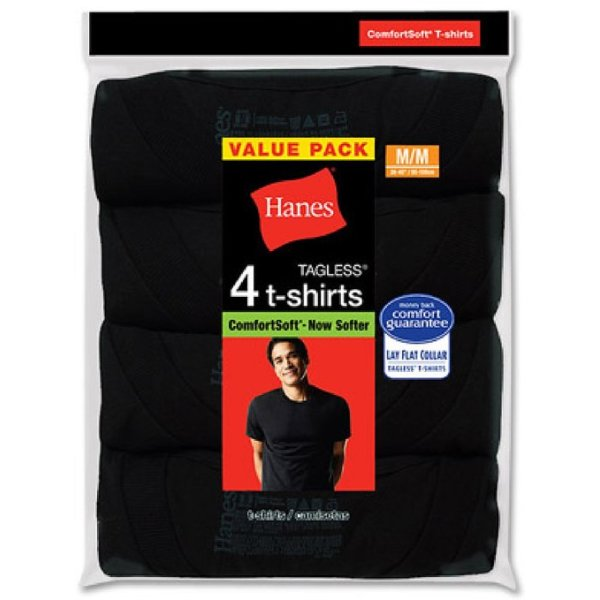 Hanes Mens Comfortsoft Dyed Crew 4 Pack, S, Black