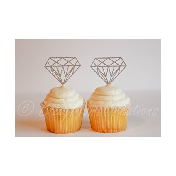 Set of 12 - Diamond cupcake toppers or Donut toppers! Perfect for a Bridal shower, Bachelorette party, or Engagement party!
