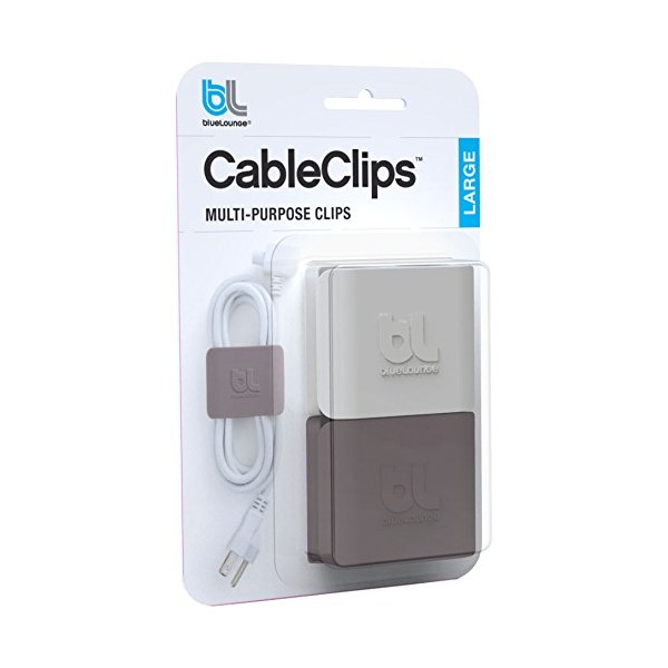 Bluelounge Large CableClip, Cable Management System in Grey - 2 Pack