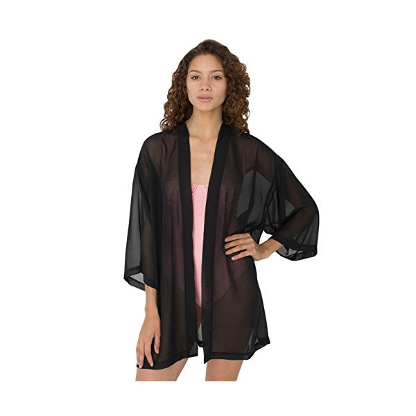 American Apparel The Chiffon Luxe Robe - Black Chiffon / XS/S