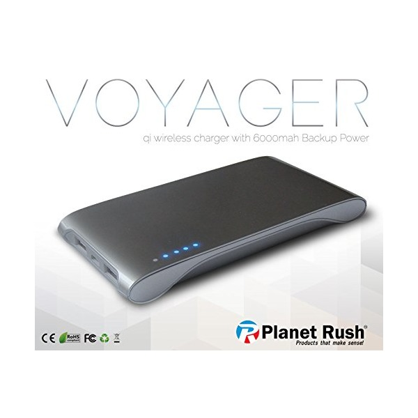 Voyager 3 in 1 QI Cell Phone Wireless Charging Station & Portable Power Bank 6000 mAh Rechargeable External Battery & Dual USB / Untangle Work & Travel with Style & High End Slim Ergonomic Design