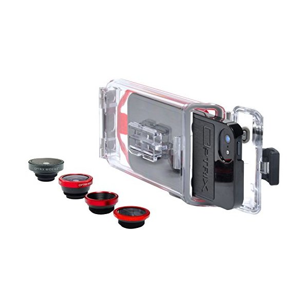 Optrix PhotoProX Waterproof Case with Interchangeable Photography Lenses for iPhone 5/5S - Carrying Case - Retail Packaging - Clear/Red