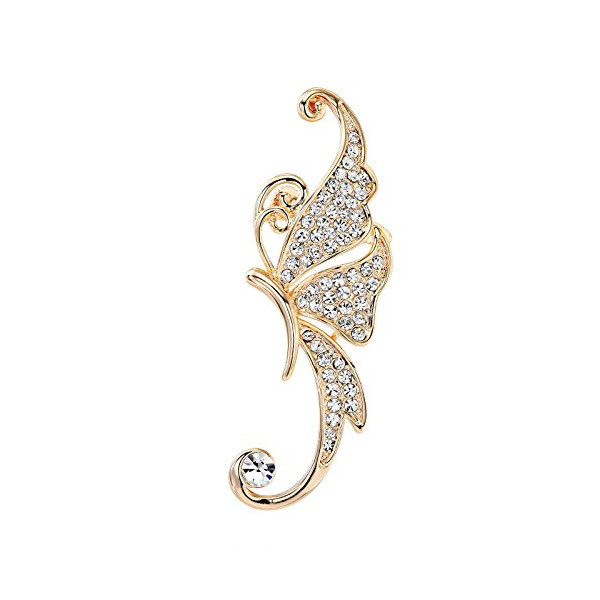 OKAJEWELRY 925 Sterling Silver Post Crystal Butterfly Left Cartilage Ear Cuff Earring