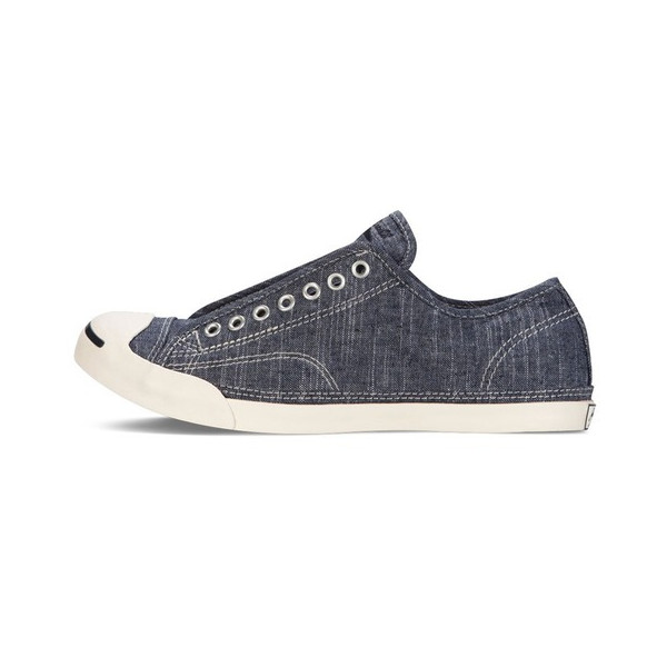 Converse Jack Purcell LP L/S Slub Linen Slip-Ox Linen Shoes in Navy