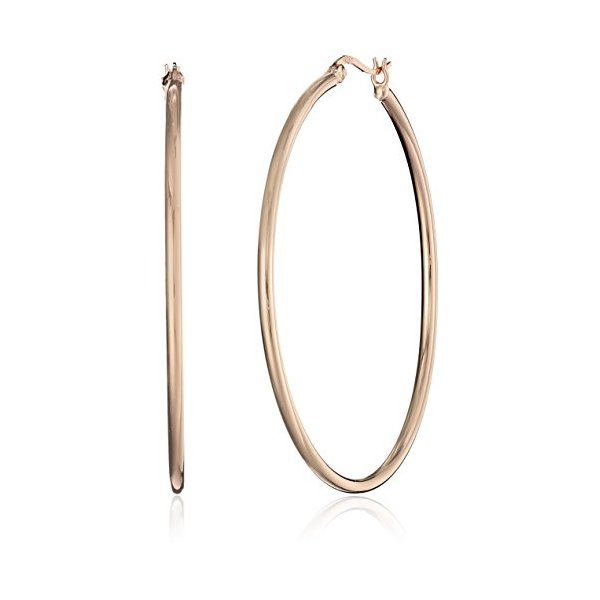 Rose Gold Plated Sterling Silver 2mm Round Tube Hoop Earrings