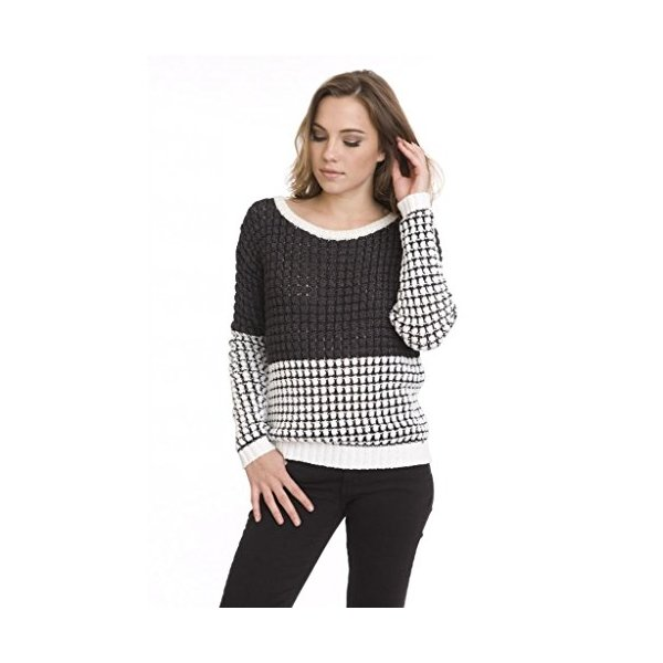 One Grey Day Women's Color Blocked Sunrise Knit Pullover Sweater Black White-M