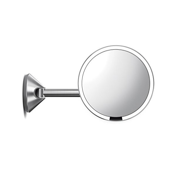 "simplehuman Sensor Lighted Makeup Vanity Mirror 8"" Round Wall Mount, 5X Magnification, Hard-Wired (100-240v), Stainless Steel"