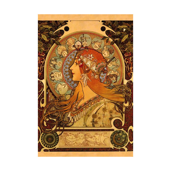 "Horoscope Zodiac Sign Astrology Fashion Lady By Alphonse Mucha 16"" X 22"" Image Size Vintage Poster Reproduction we have other sizes available"