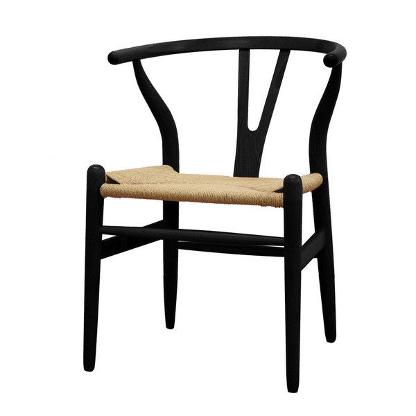 Baxton Studio Wood Wishbone Y Chair, Black