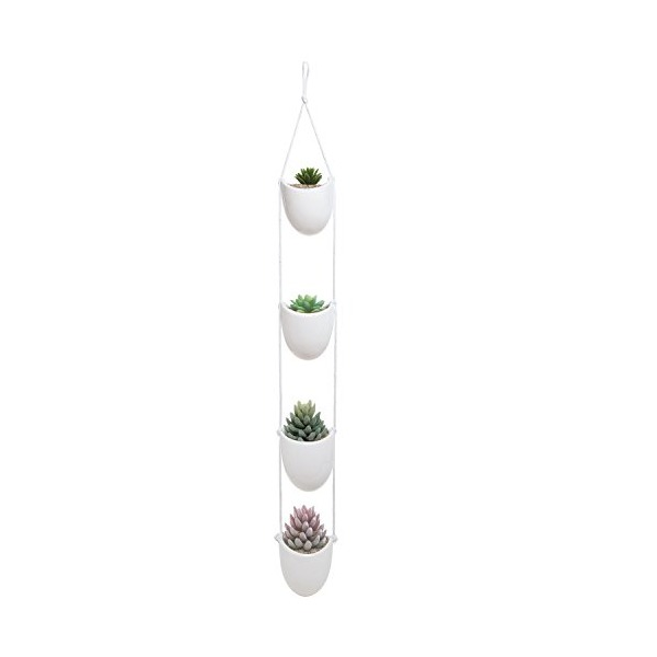 White Ceramic Rope Hanging Planter Set with 4 Flower Pots Plant Containers / Decorative Display Bowls