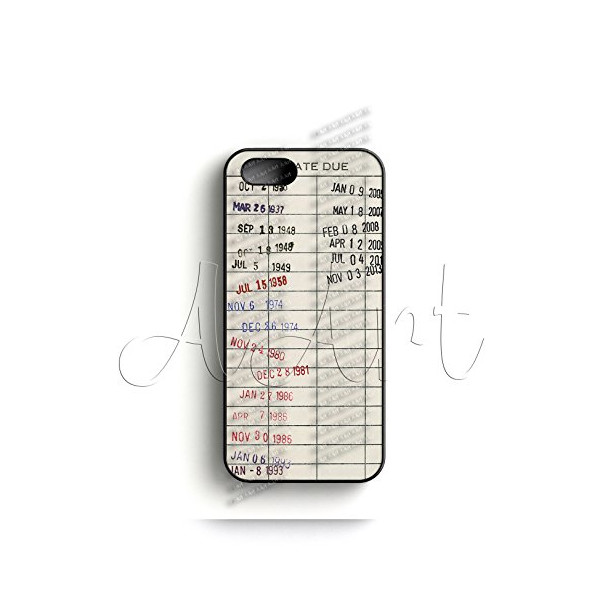 V30.2 Vintage Library due date card Apple iPhone 5 Case - Library card iPhone 5S Case - Best Quality Hard Plastic Case - AArt (Black Case)