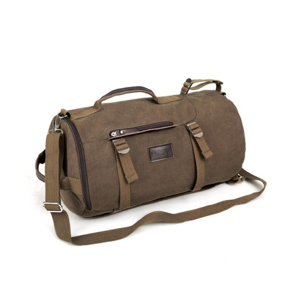 Eshow Men's Retro Canvas Weekend Travel Duffel Bag, Brown
