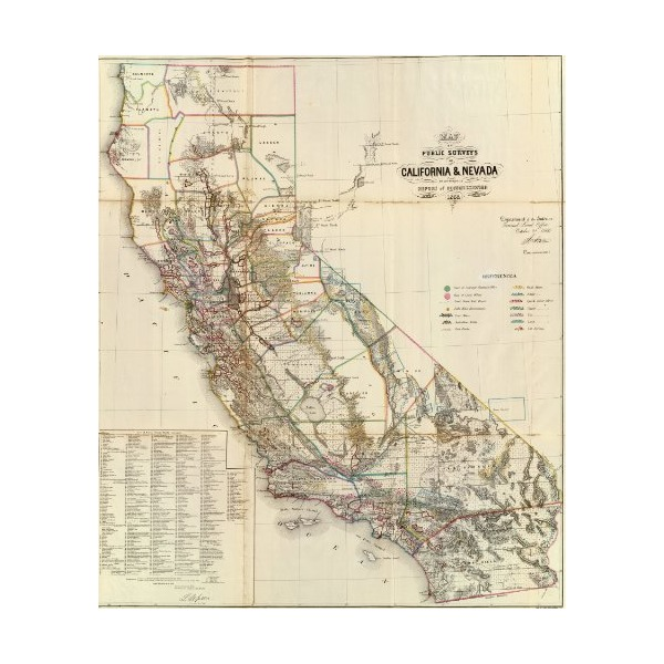 "1866 Old Historic Land Map of California and Nevada- Map Reprint 24"" X 28"""