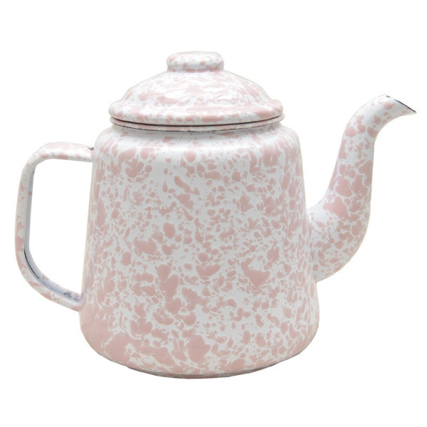Enamelware 52 Ounce Teapot - Pink Marble