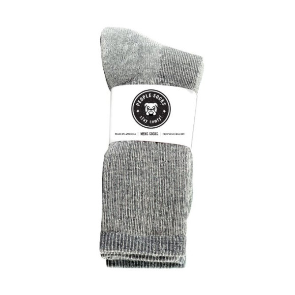 4pairs Heather Charcoal Black Mens Merino Wool Acrylic Blend Calf Boot Socks, Fits Mens Shoe size 6-12