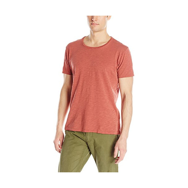 Nudie Jeans Men's Round Neck Tee Shirt with Opening, Red, Large