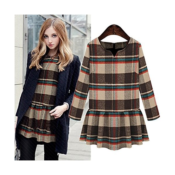 Women 2014 Autumn New Long-sleeved Bottoming V-neck Plaid Hem Dresses (S, Khaki)