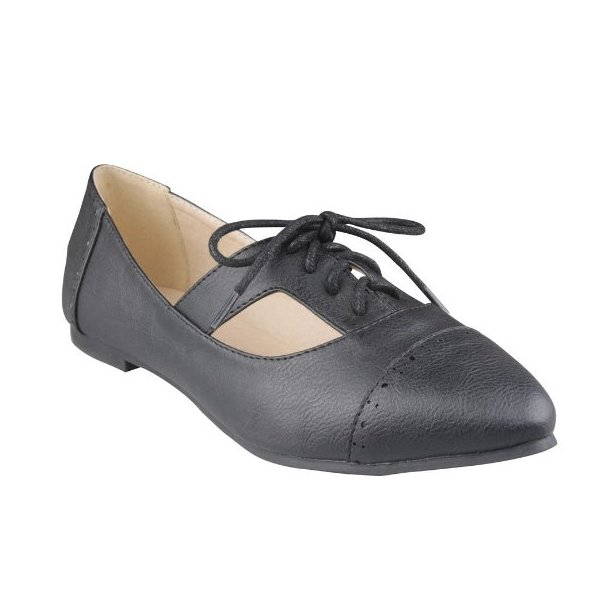 REFRESH SWEET Women's Comfort casual Oxfords,Color: BLACK, Size: 7