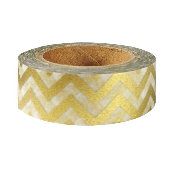 Wrapables Striped Washi Masking Tape, Gold Chevron