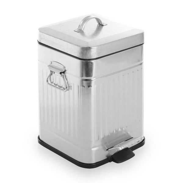 BINO Stainless Steel 1.3 Gallon / 5 Liter Square Step Trash Can, Galvanized Steel