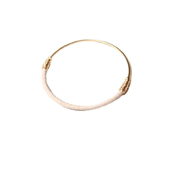 Bloom Jewelry Leather Wrap Skinny Bangle in Dune