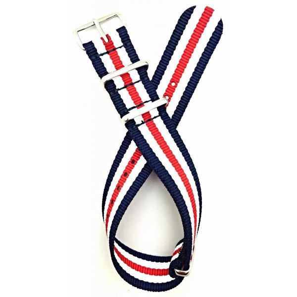 20mm NATO style, High Quality Nylon Fabric Watch Strap - Red/White/Navy Blue