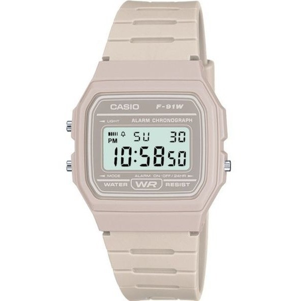 Casio Classic Digital Water Resistant Watch with Micro Light Grey Resin Strap