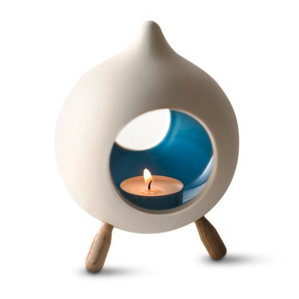 Hinterland Trading Footed Ceramic Blue Glazed Candle Holder Teardrop Shape
