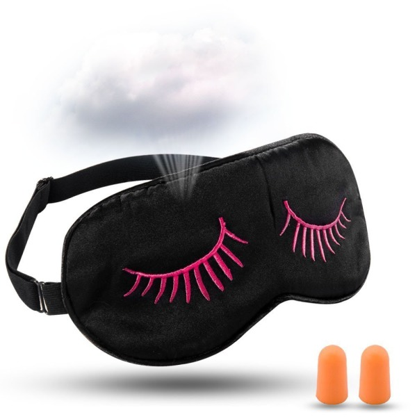 HamFire Eyelashes Style Silk Sleeping Eye Mask Cover - Breathable & Soft Protect Eye Mask for Travelling, Sleeping, Relaxation, Spa, Daydream - with Two Ear Plugs (Pink Eyelashes)