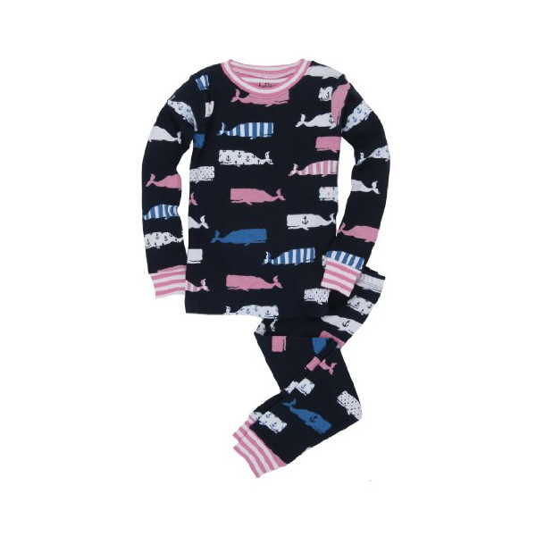 Hatley Little Girls'  Girl Whales Pajama Set, Blue, 4T